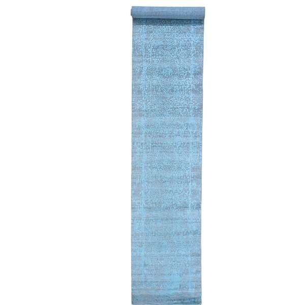 One-of-a-Kind Titus Tone on Tone Broken Hand-Knotted Blue Area Rug by Bungalow Rose