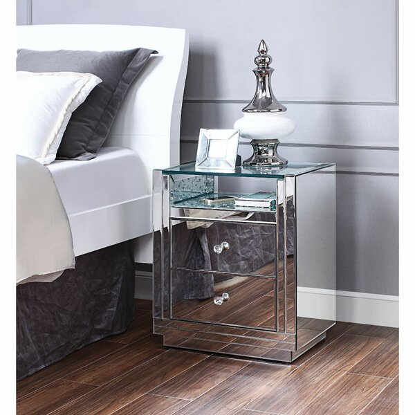 Albee Wooden 2 Drawer Nightstand By Everly Quinn Bargain