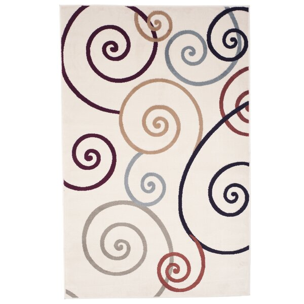 Swirls Ivory/Red Area Rug by Lavish Home