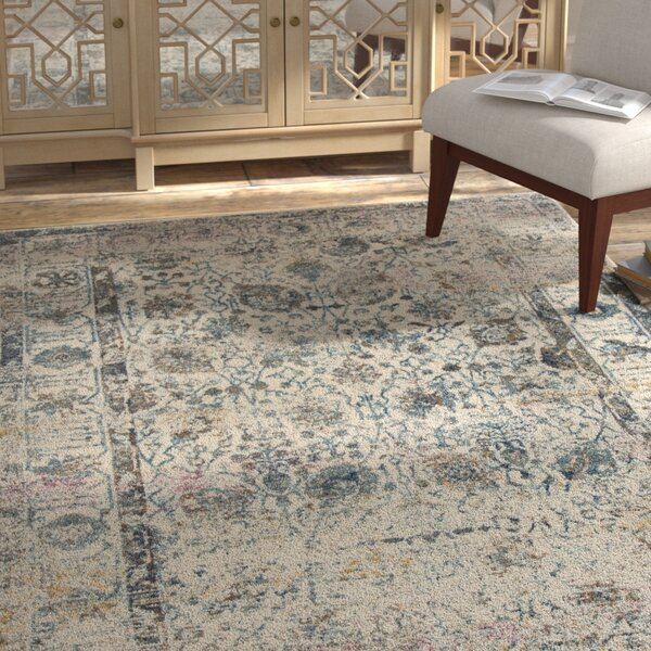 Palmore Ivory/Blue Area Rug by Bungalow Rose