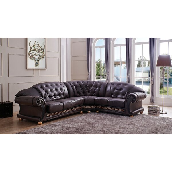 Francesco Leather Sectional by House of Hampton