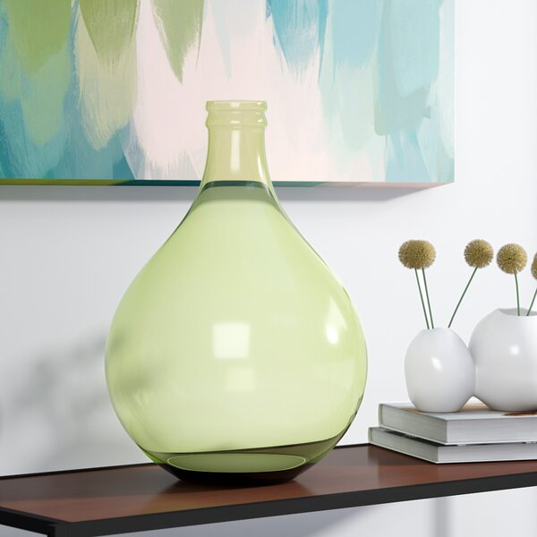 Green Recycled Glass Table Vase by Mercury Row