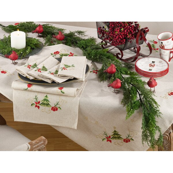 Embroidered Christmas Tree Design Holiday Linen Bl