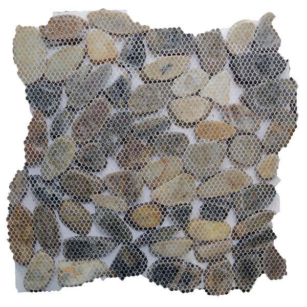Random Sized Natural Stone Pebble Tile in Sienna by Islander Flooring