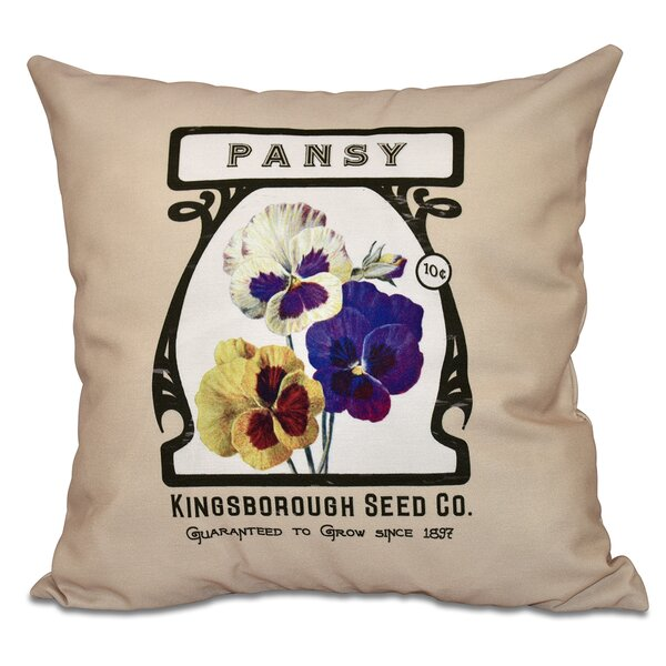 Swan Valley Pansy Floral Outdoor Throw Pillow by August Grove