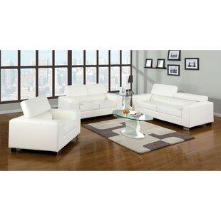 Ameeya 3 Piece Leather Match Living Room Set by Orren Ellis