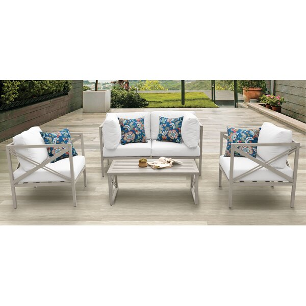Carlisle Outdoor 5 Piece Sofa Seating Group with Cushions by TK Classics