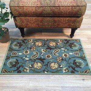 Harland Floral Teal Blue Indoor Doormat