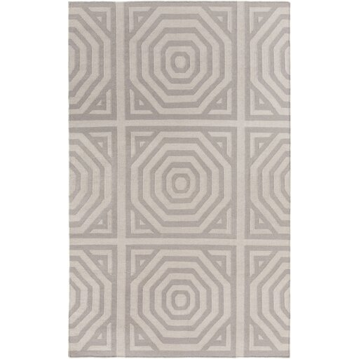 Hand Woven Cotton Gray Area Rug by Surya