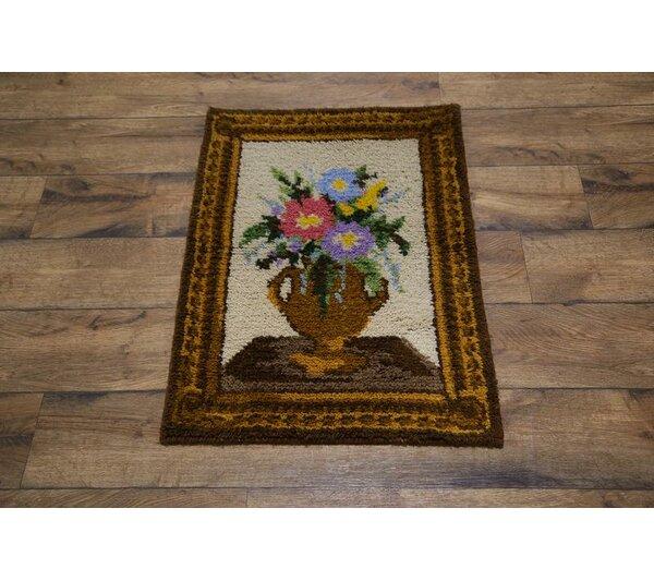 Wobana Rya Sweden Oriental Floral Hand-Knotted Wool Beige/Brown Area Rug by Bloomsbury Market