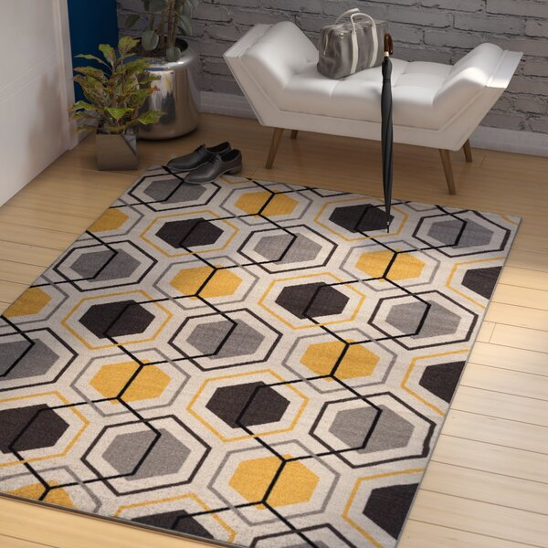 Princess Geometric Stripe Yellow Area Rug by Zipcode Design