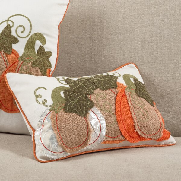 Cucurbita Embroidered Pumpkin Autumn Fall Harvest Lumbar Pillow by The Holiday Aisle