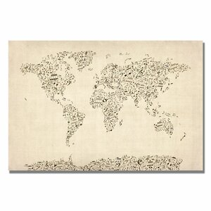 'Music Note World Map' by Michael Thompsett Graphic Art on Canvas by Trademark Fine Art