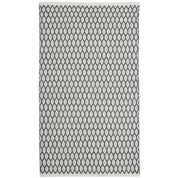 Modena Hand-Woven Charcoal/Ivory Area Rug by Gracie Oaks