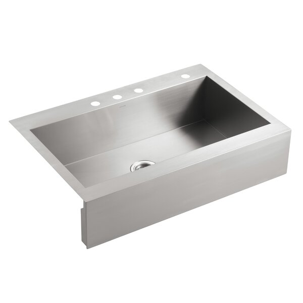 Vault 35-3/4 x 24-5/16 x 9-5/16 Top-Mount Single-Bowl Stainless Steel Kitchen Sink with Shortened Apron-Front for 36Cabinet by Kohler