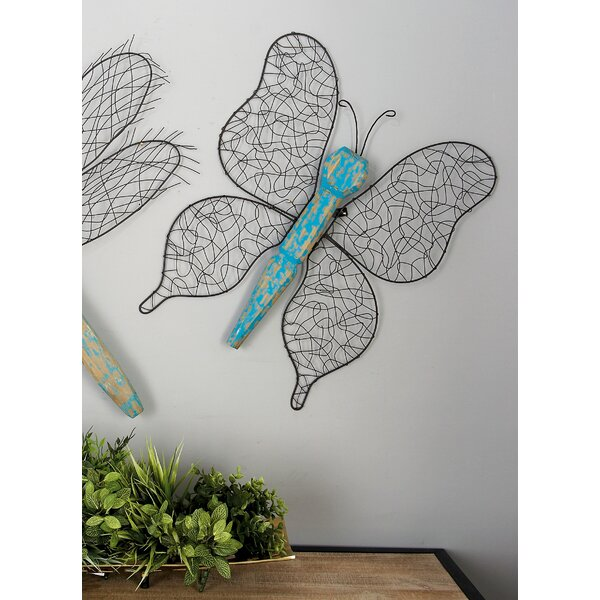 Metal/Wood Butterfly Décor Statue by Cole & Grey