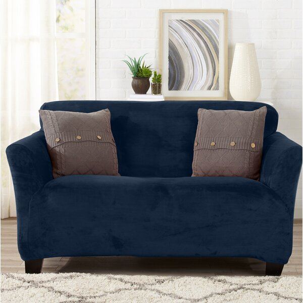 Velvet Plush Form Fit Stretch Loveseat Slipcover b