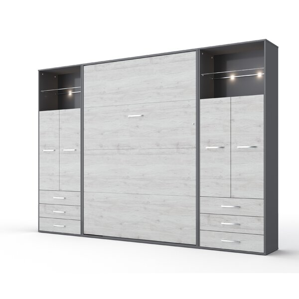 Rao Vertical Full Storage Murphy Bed with Mattress by Orren Ellis