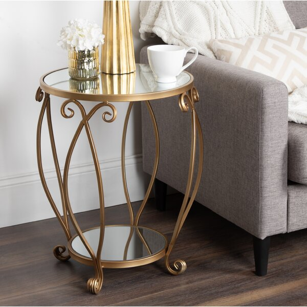Chau Round Mirrored Metal End Table by House of Hampton