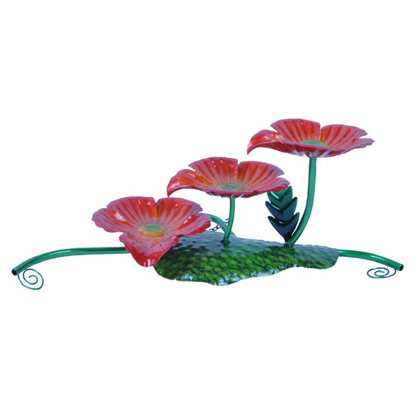 Glass/Metal 3 Flower Tabletop Fountain by Continental Art Center