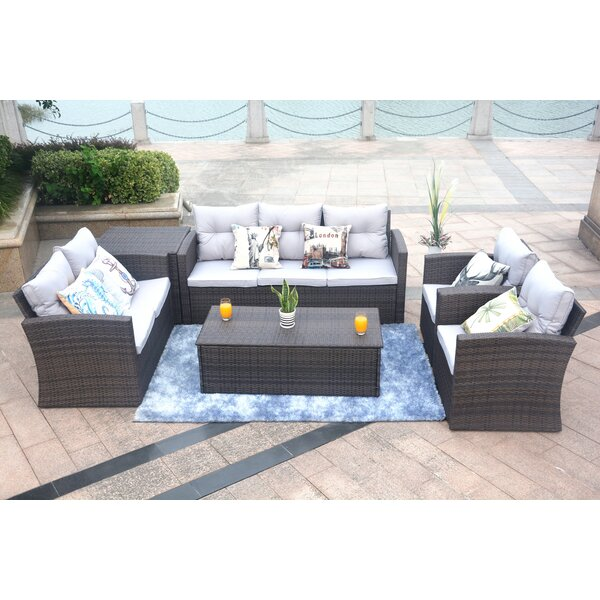 Godfrey 6 Piece Sofa Seating Group with Cushions by Rosecliff Heights