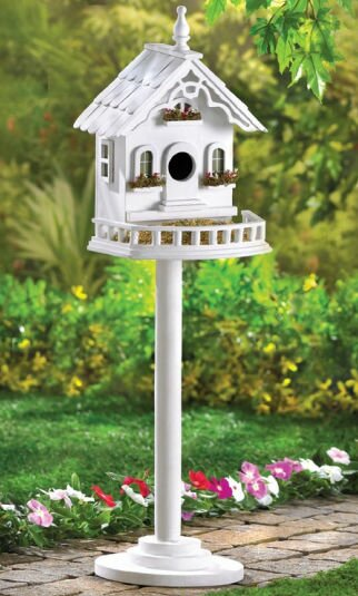 Cape Cod Pedestal 29.5 in x 9.5 in x 8.5 in Birdhouse by Zingz & Thingz