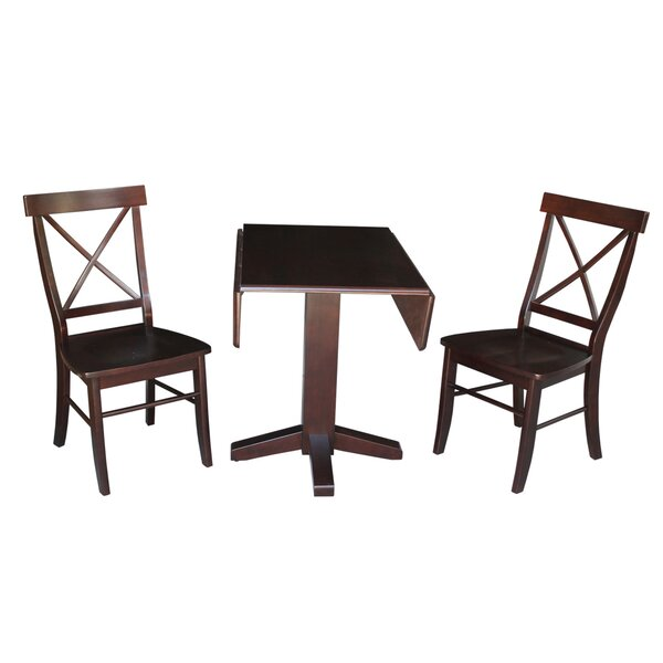 Fresh Spraggins Square Dual 3 Piece Drop Leaf Solid Wood Dining Set By August Grove Best
