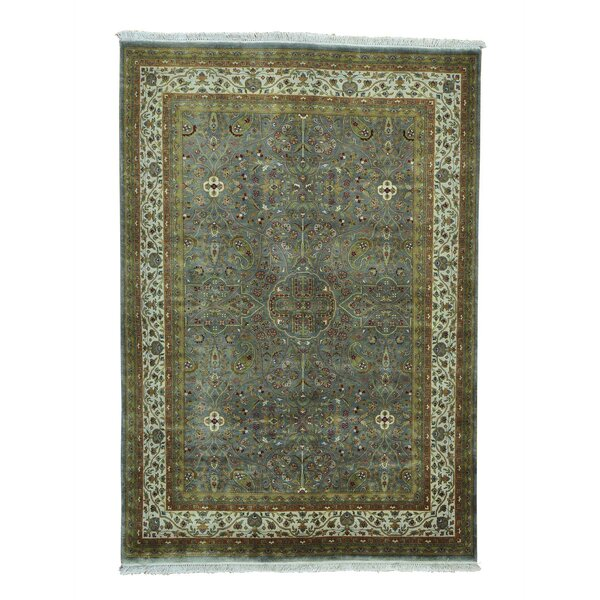 One-of-a-Kind Dillion Revival Oriental Hand-Knotted Silk Gray Area Rug by World Menagerie