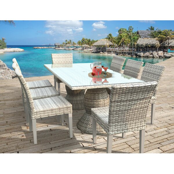 Ansonia 9 Piece Aluminum Frame Outdoor Dining Set by Rosecliff Heights