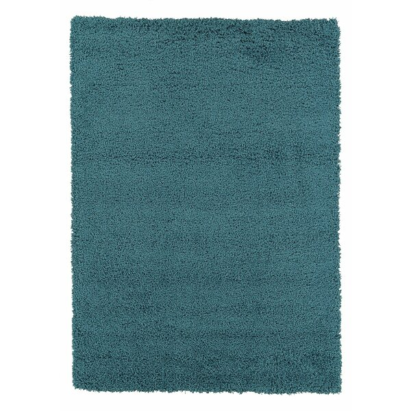 Yarborough Solid Design Contemporary Shag Turquoise Area Rug by Winston Porter