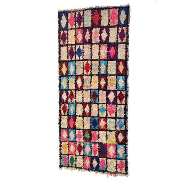 Boucherouite Azilal Hand-Woven Ivory/Pink Area Rug by Casablanca Market