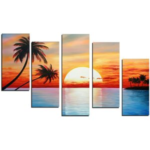 'Tropical Sunset' 5 Piece Painting on Canvas Set by Ebern Designs