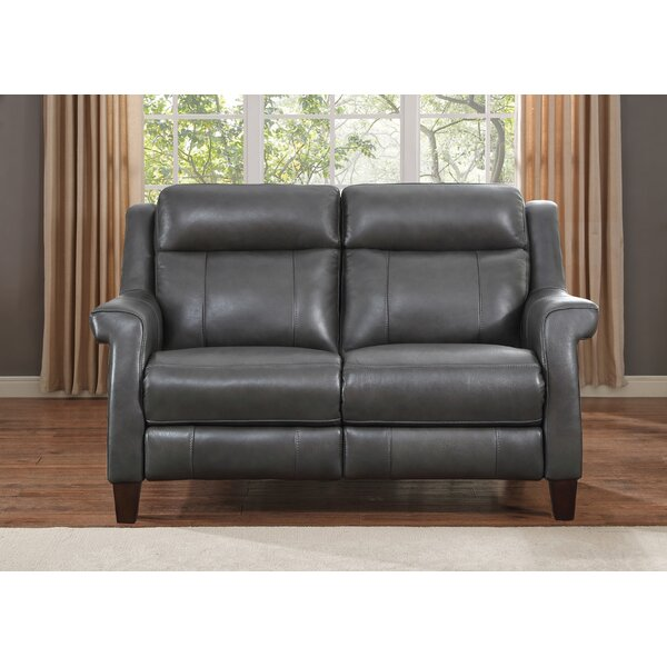 Discounts Guyette Leather Reclining Loveseat by Red Barrel Studio by Red Barrel Studio