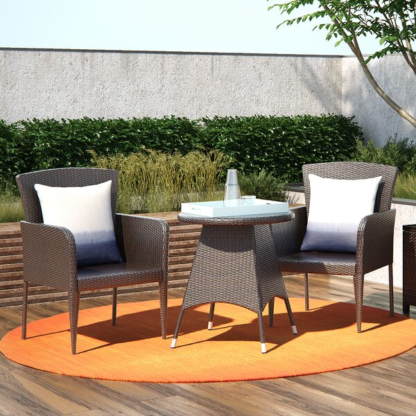 Keely 3 Piece Bistro Set by Mercury Row