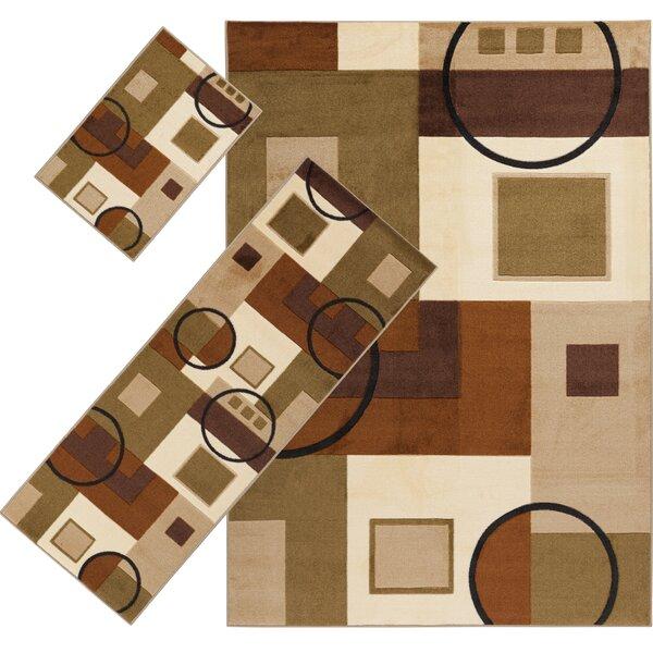 Audrey Brown/Moss 3 Piece Indoor/Outdoor Area Rug Set by Threadbind