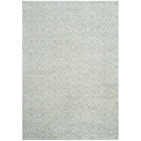 Adel Lake Hand-Knotted Seafoam/Ivory Area Rug by Corrigan Studio