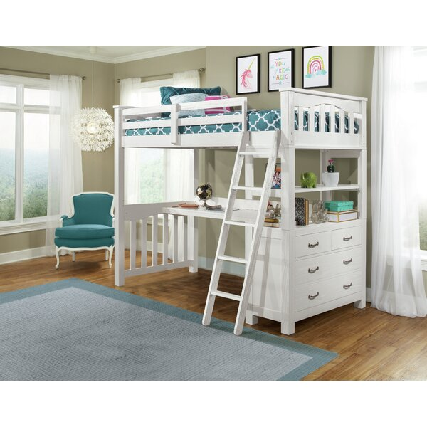 Bedlington Loft Bed with Shelves by Greyleigh