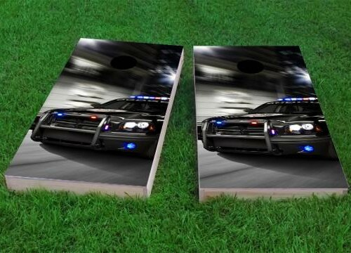 Chasing Cop Car Cornhole Game (Set of 2) by Custom Cornhole Boards