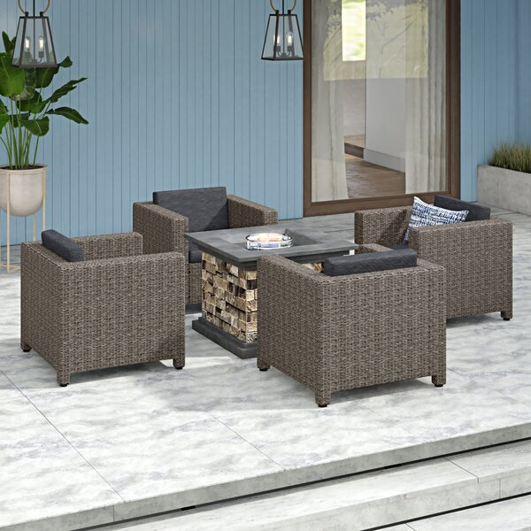 Furst Modern 5 Piece Rattan Seating Group with Cushions by Wade Logan