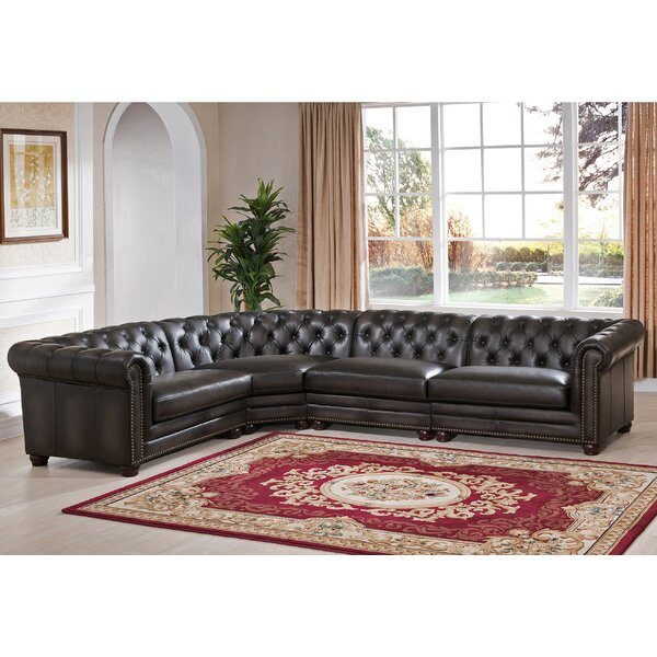 Altura Leather Sectional By Darby Home Co