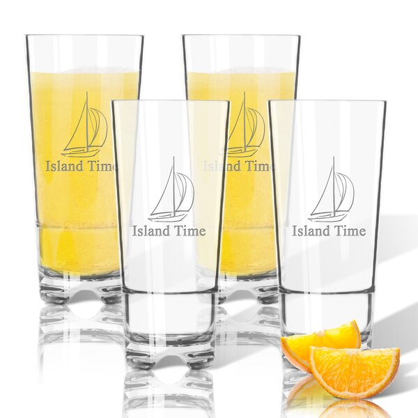 Personalized Sailboat Tritan 16 oz. High Ball Glass (Set of 4) by Carved Solutions