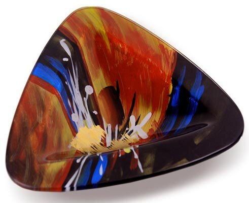 Triangle Platter with Glass Leg by Jasmine Art Glass