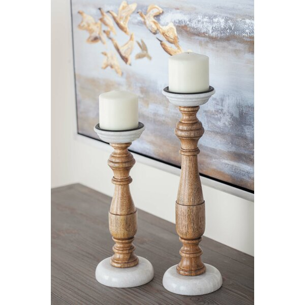 2 Piece Wood Candlestick Set by Cole & Grey