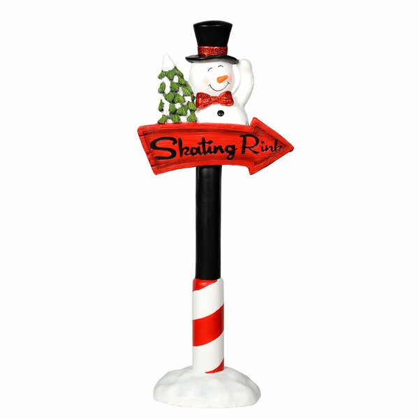 Snowman Skating Rink Sign Figurine by The Holiday Aisle