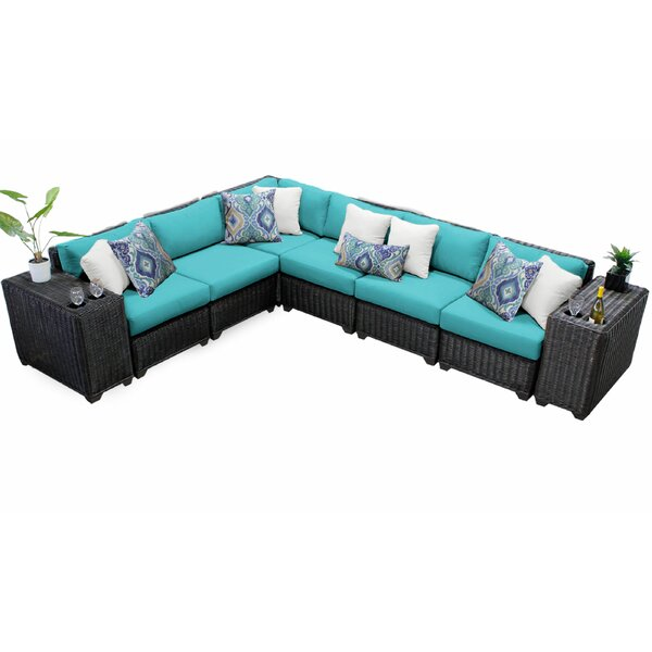 Fairfield 8 Piece Rattan Sectional Seating Group with Cushions by Sol 72 Outdoor