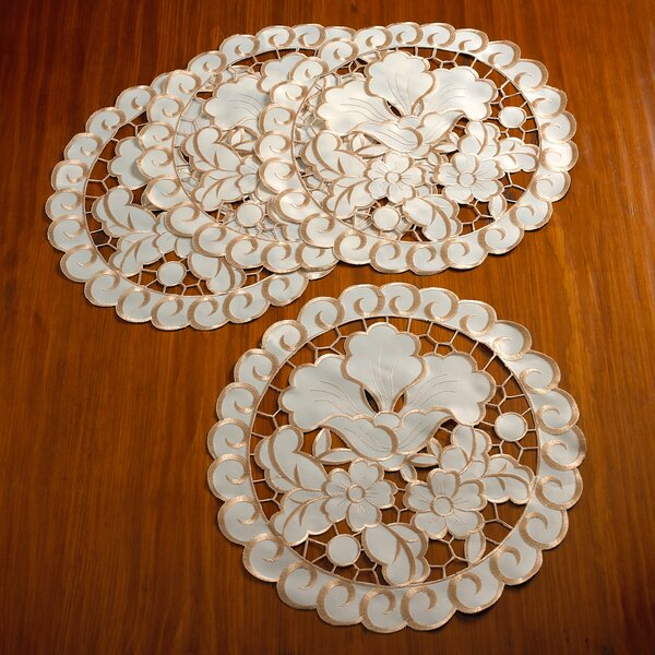Gaetan Embroidered Cutwork Lace Round Doilie Placemat (Set of 4) by Lark Manor