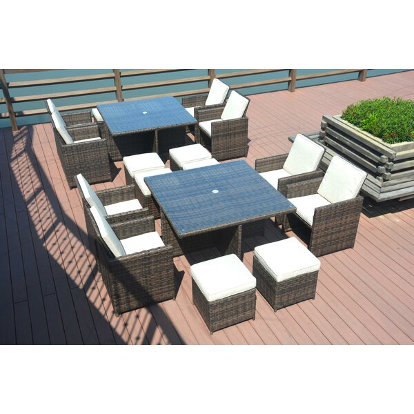 Walnut River 18 Piece Dining Set with Cushions by Brayden Studio