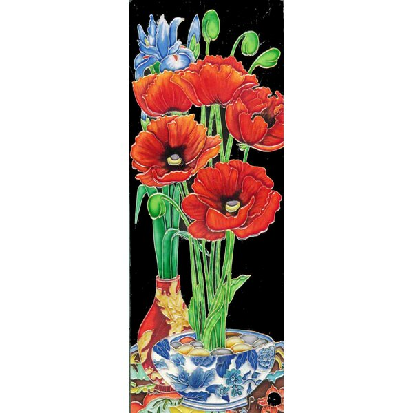 Poppy Flower in a Vase Tile Wall Decor by Continental Art Center