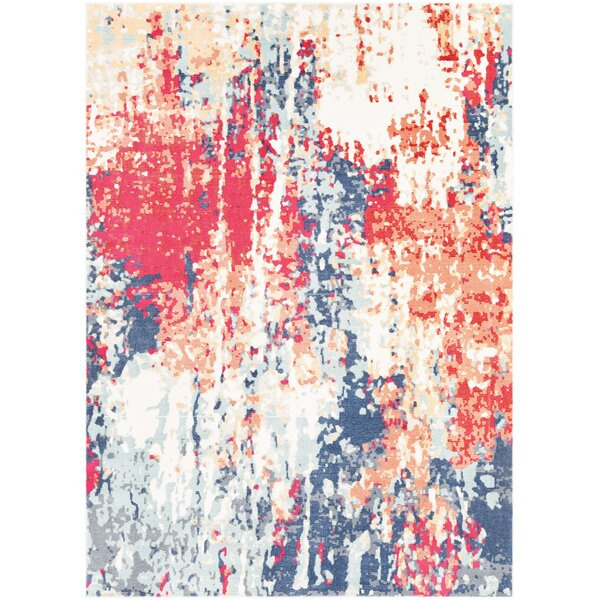 Raminez Abstract Navy/Red Area Rug by Bungalow Rose