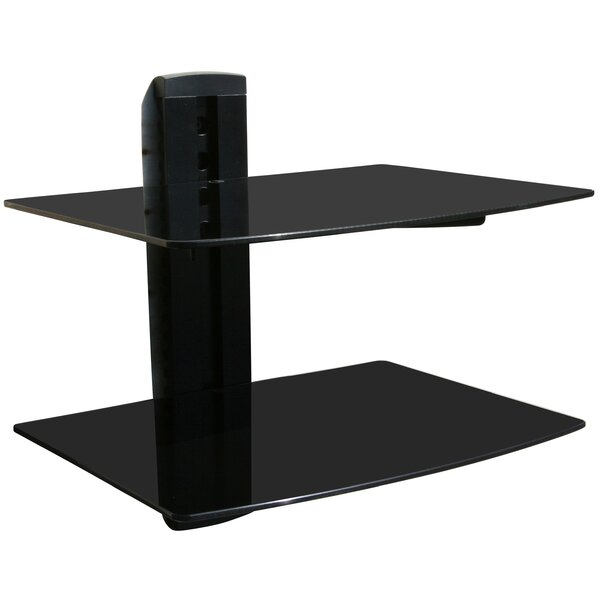 Wall Mounted AV Component Shelving System with 2 Adjustable Tempered Glass Shelves by Mount-it